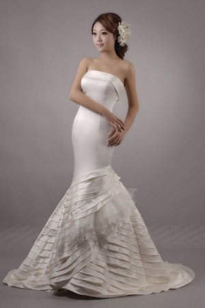 mermaid wedding dress strapless chapel train satin tulle 6050922 x